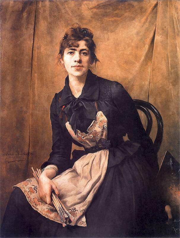 Anna Bilińska-Bohdanowicz (Polish painter, 1857–1893) Self-Portrait with Apron and Brushes, 1887
