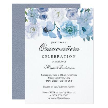 Blue Wonderland Gray Flower Quinceanera Invite Zazzle