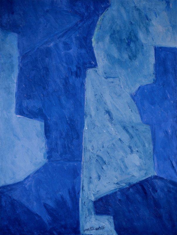 Serge Poliakoff,Composition bleue, 1960. Gouache.