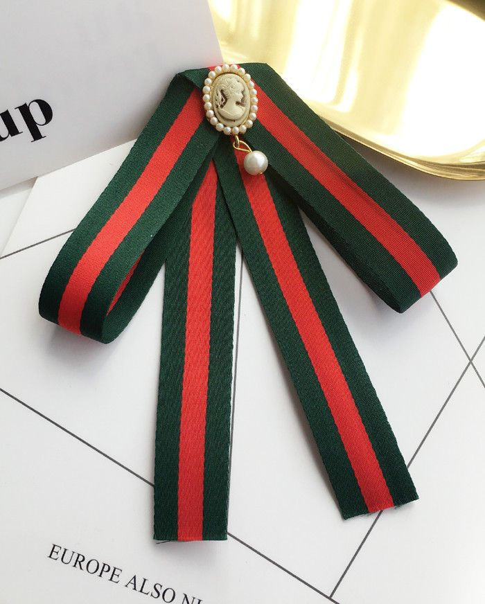 Red Green Ribbon Cameo Tie Women Accessories Bow Collar Fashion Brooch Pin   Handmade 66421d46d280