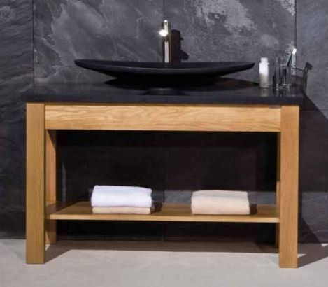 Stonearth Prestige Large Solid Oak Washstand with Marble Counter