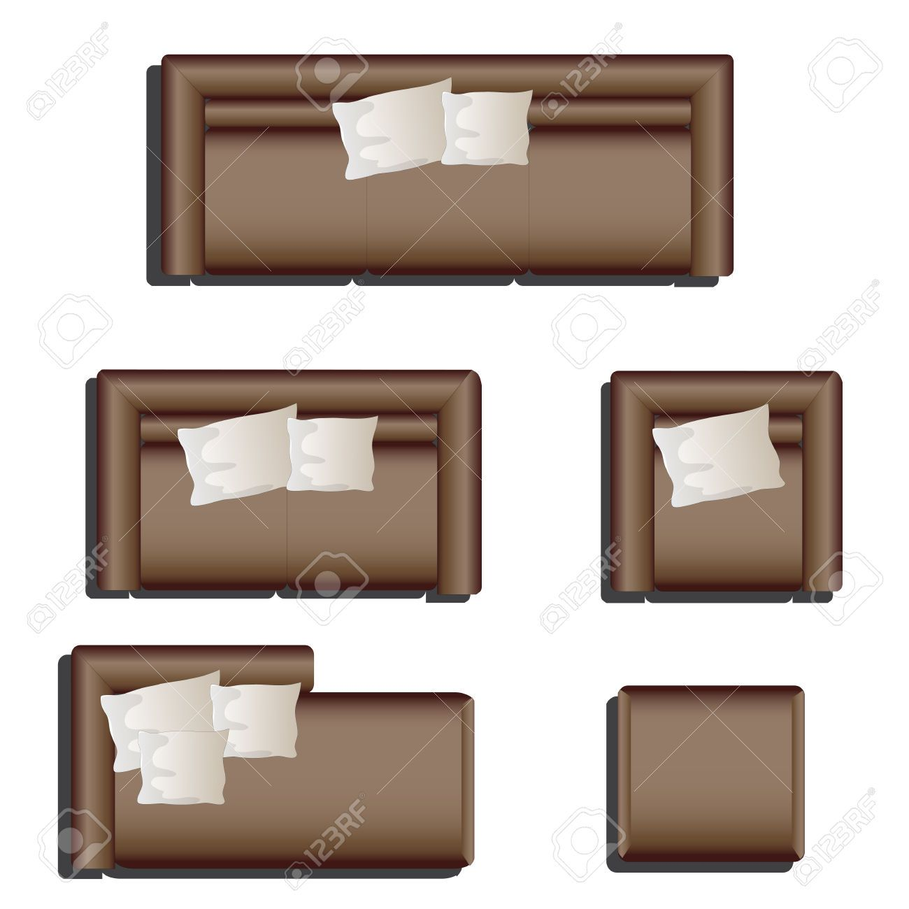 Furniture Top View Set 28 For Interior Vector Illustration Brown Sofa Stock