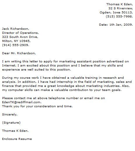 marketing cover letter Cover letter Pinterest Resume cover letters - internship thank you letter