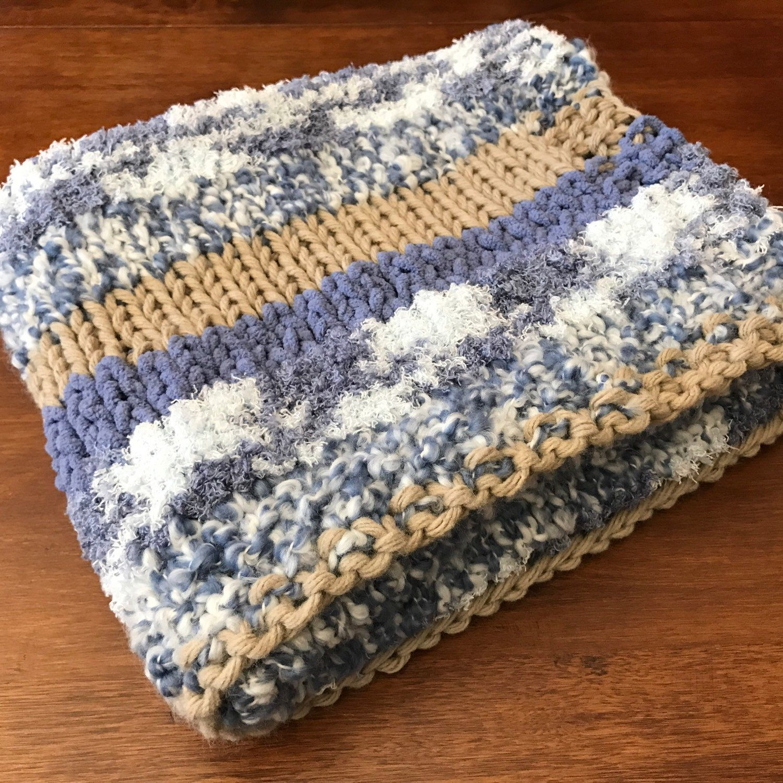Hand-Knit Baby Blanket // Chunky Knit Blanket // Bernat ...
