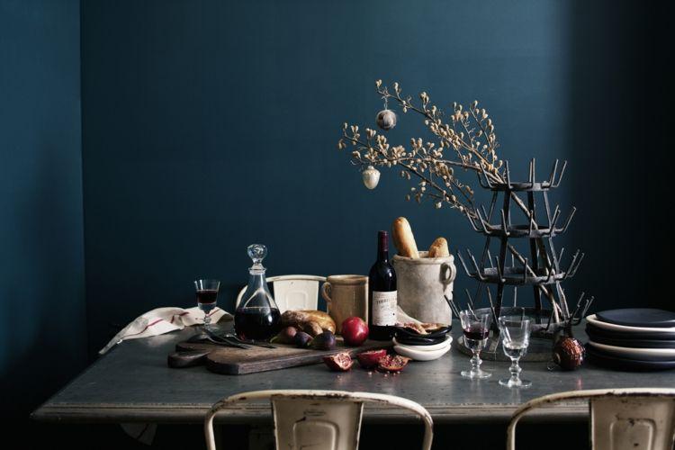 wandfarbe petrol dunkel esszimmer metall tisch deko | Deco | Pinterest