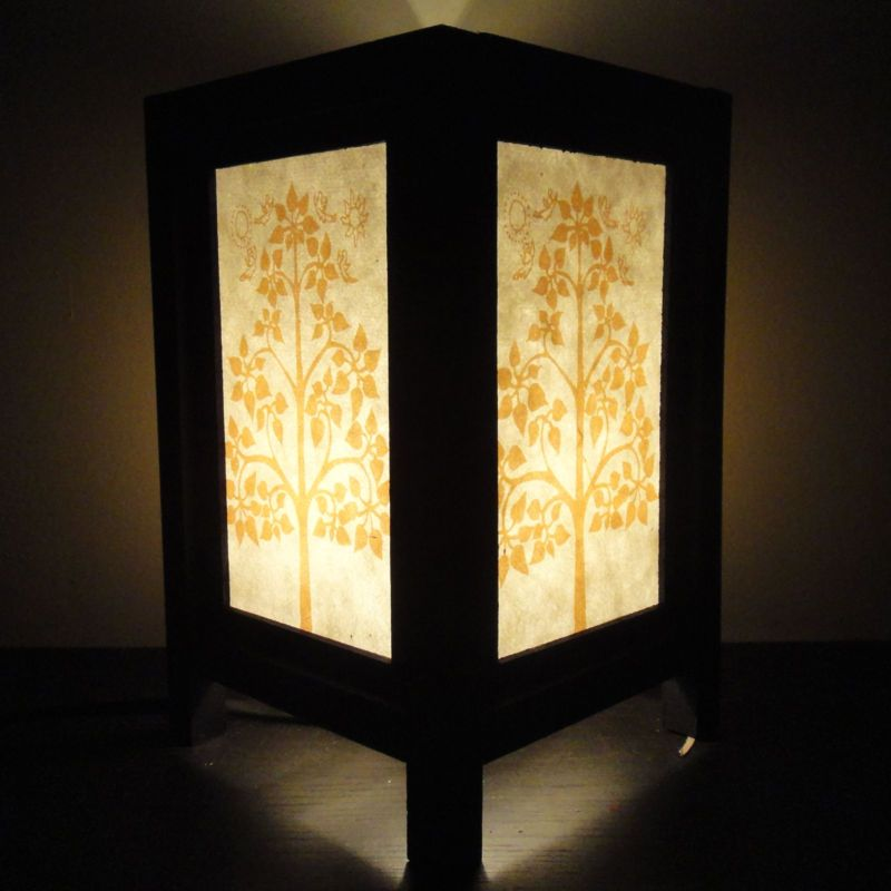 Asian Oriental Thailand Lotus Peaceful Art Bedside Table Lamp Wood Shades  Lights | EBay