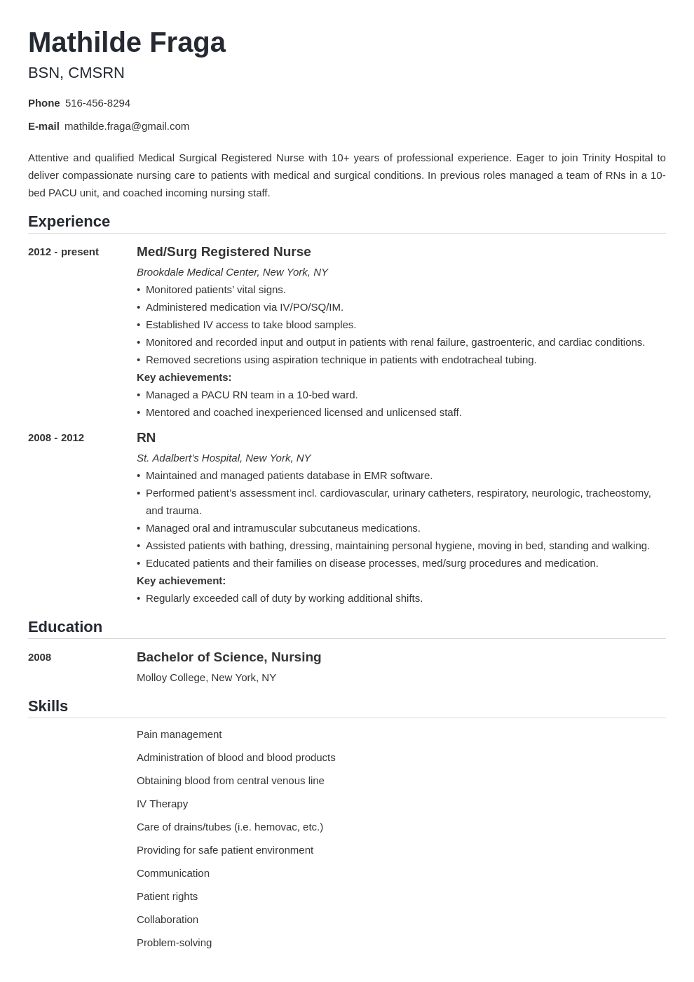 med surg nurse resume example template nanica in 2020