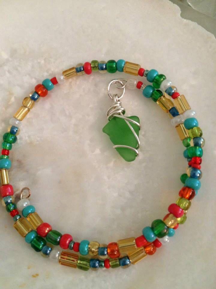 Colorful wrap bracelet w/ sea glass charm by WSJ ⚓️