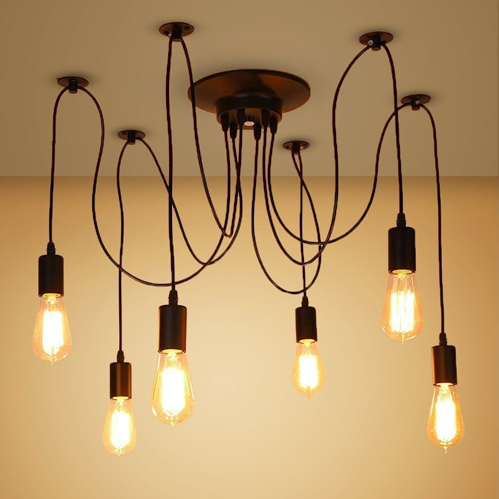 veesee 6 arms industrial ceiling spider lamp fixture home diy e26 rh pinterest com