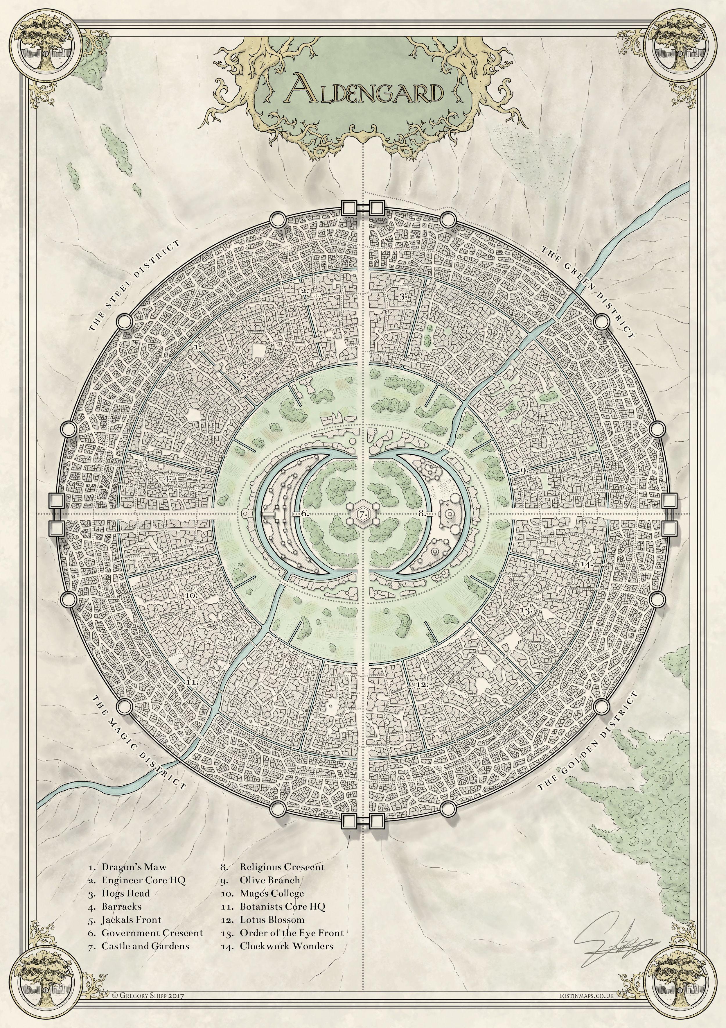 The City Of Aldengard Fantasy City Map Fantasy Map Fantasy Map