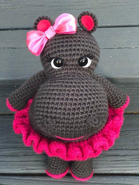 Amigurumi Mädchen Hippo, häkeln Tier, gefüllte Tier, handgemachte Hippo made TO ORDER #stuffedanimals