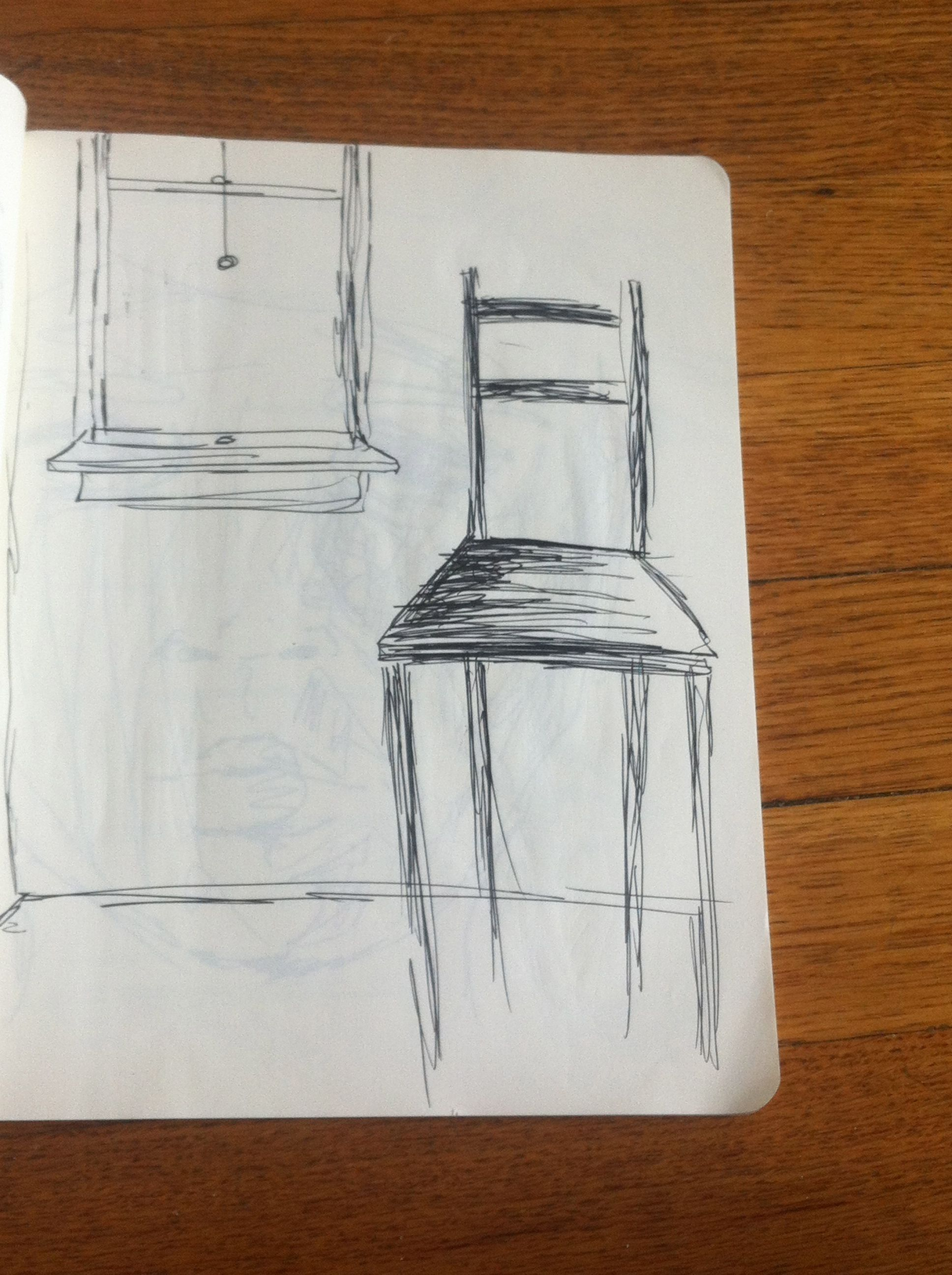 Room Drawing Pencil: Drawing. Chair. Room. Window.