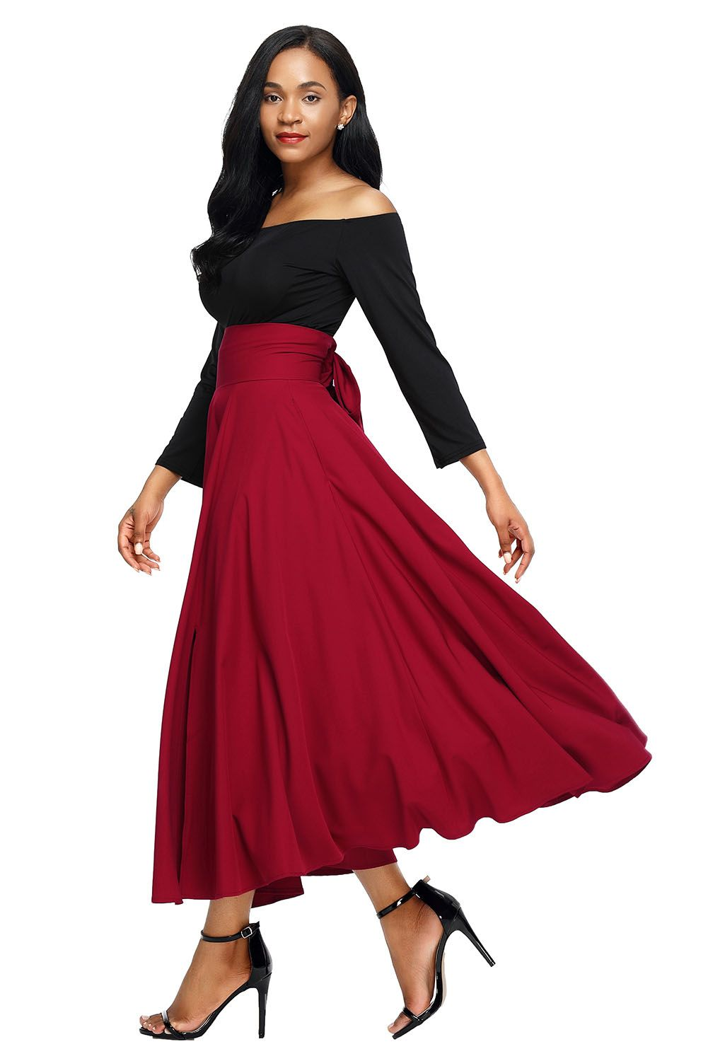 Red Belted Retro High Waist Pleated Skirt Maxi