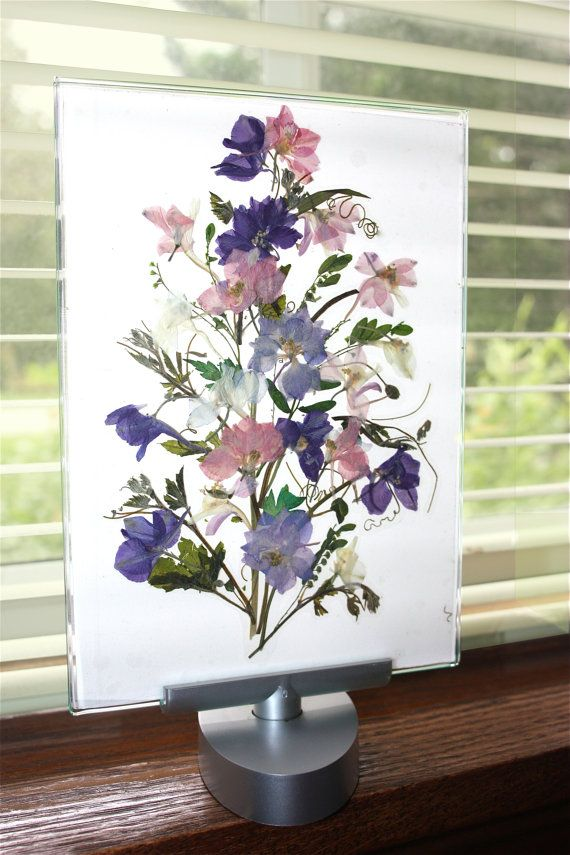 Pressed Flower Art on Swivel Stand Clear by crystalartandphoto