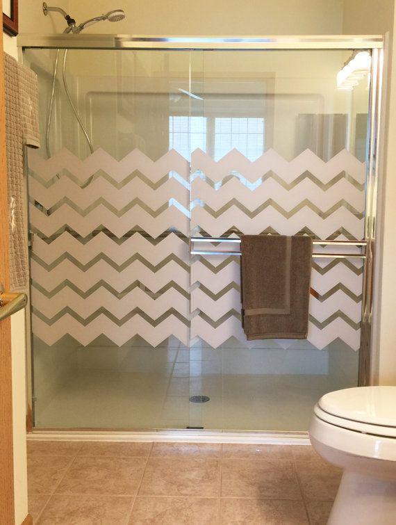 light gray chevron shower door decal static cling glass decal rh pinterest com