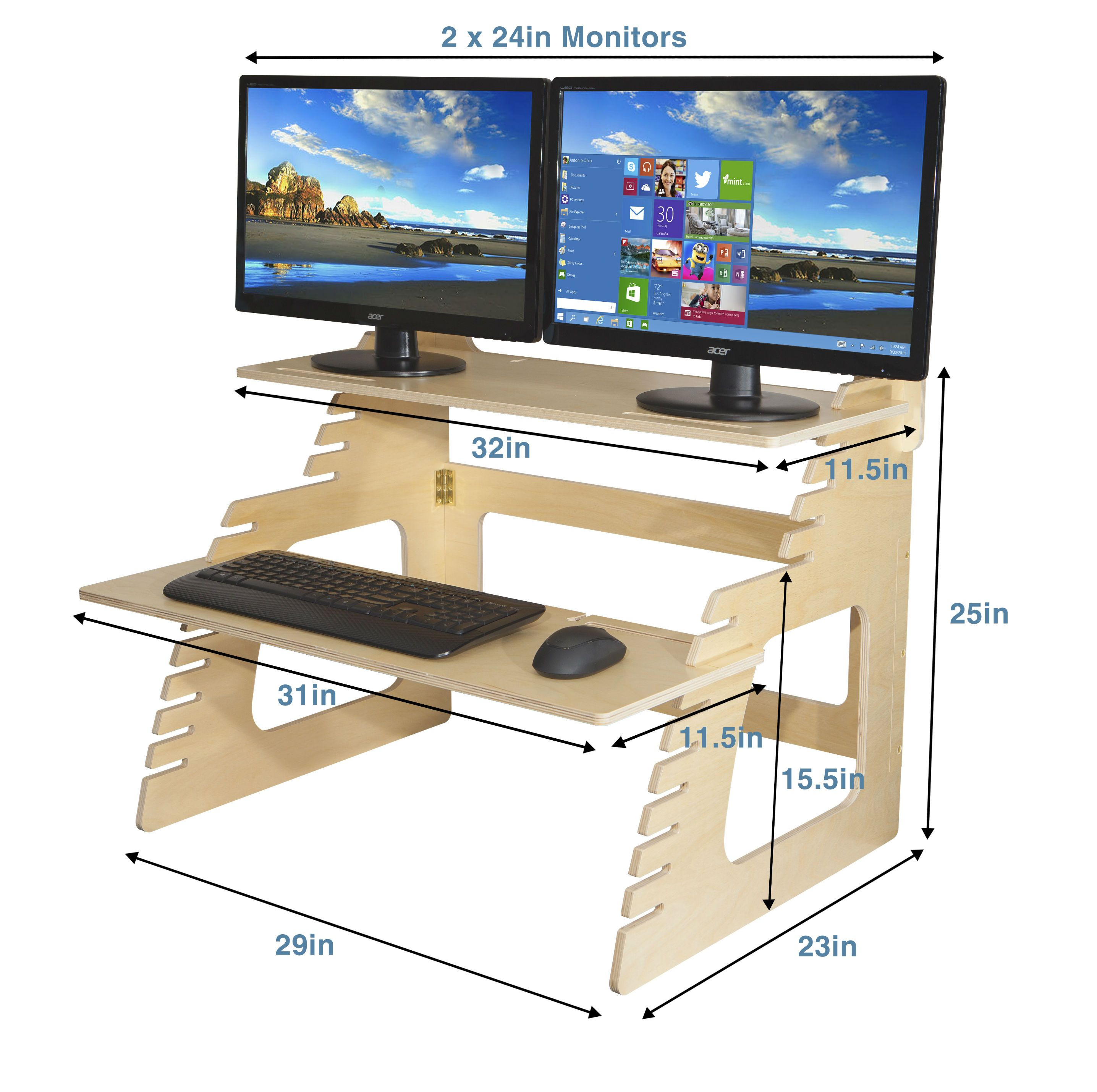 Double monitor well desk height adjustable desk raised desks in