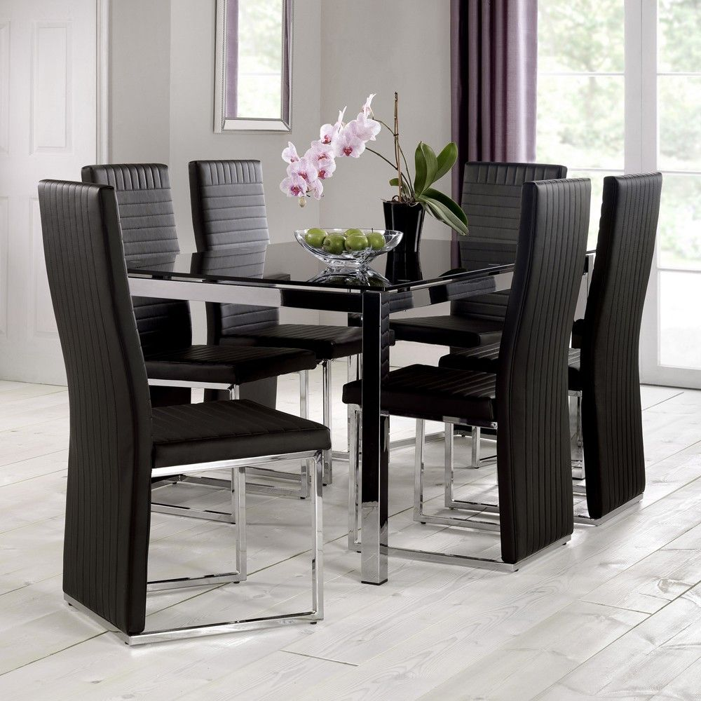 julian bowen tempo black glass chrome dining table only stuff to rh pinterest com