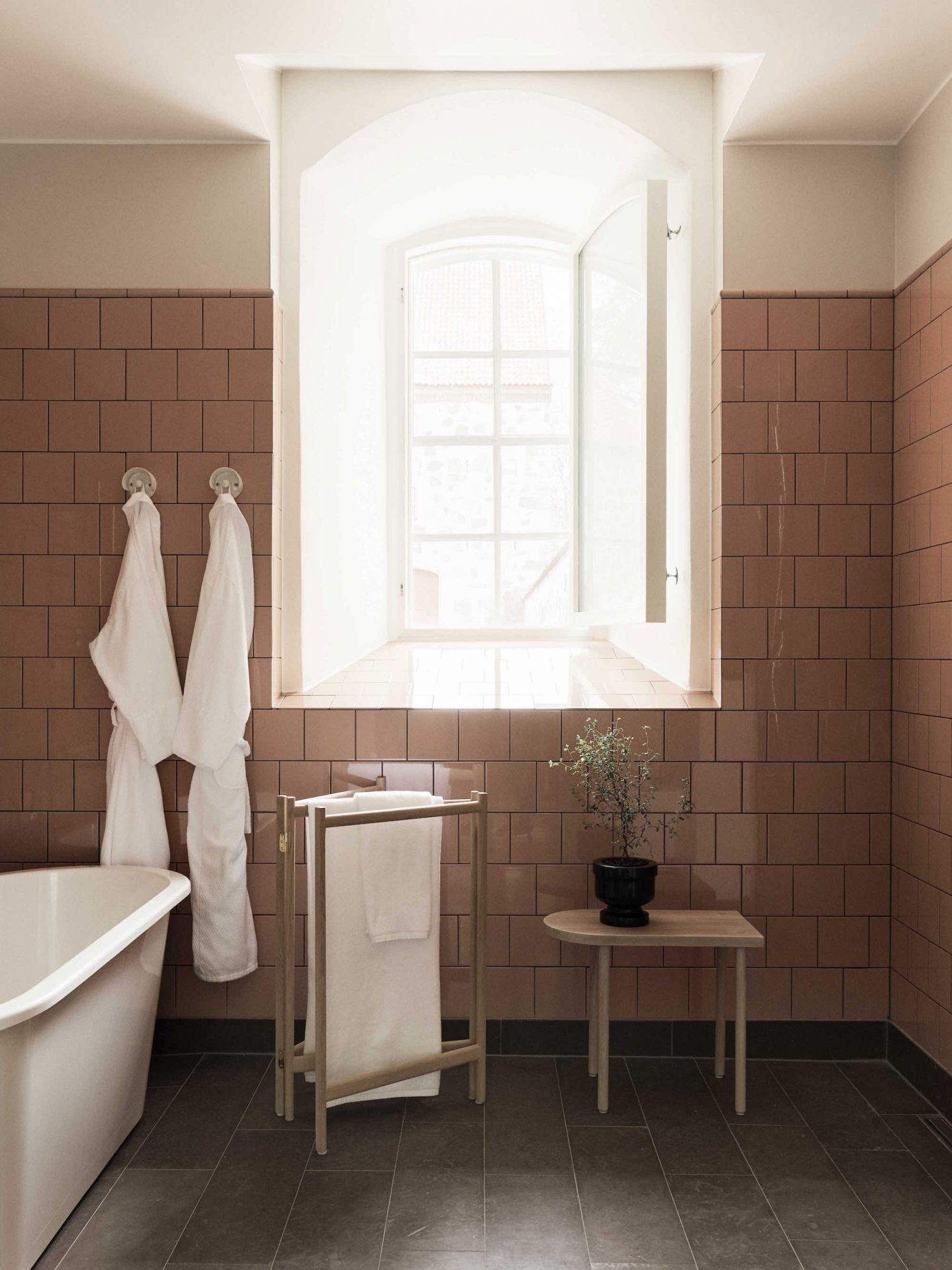 Retro-inspired bathroom tile (such as the Health tile used in Katie ...