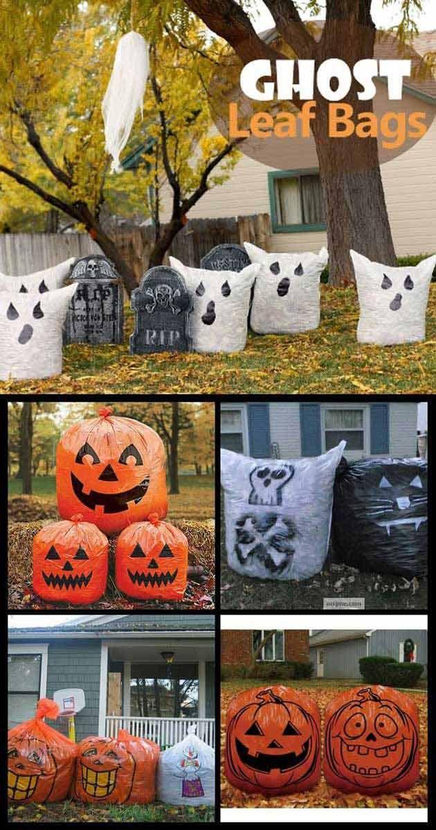 Top 20 Ideas Turn Trash Bags Into Creepy Halloween Decorations - decorate halloween bags