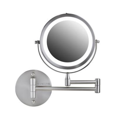 Ovente 7 In Nickel Brushed Wall Mount Led Lighted Makeup Mirror With Magnification 1x And 10x Battery Operated Mfw70br1x10x The Home Depot In 2020 Wall Mounted Makeup Mirror Makeup Mirror With