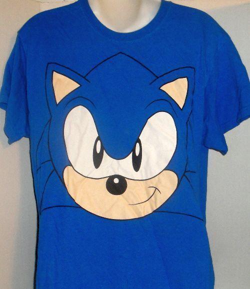 BLUE SEGA SONIC THE HEDGEHOG FACE VIDEO GAME GRAPHIC T-SHIRT MEDIUM #SonicTheHedgehog #GraphicTee