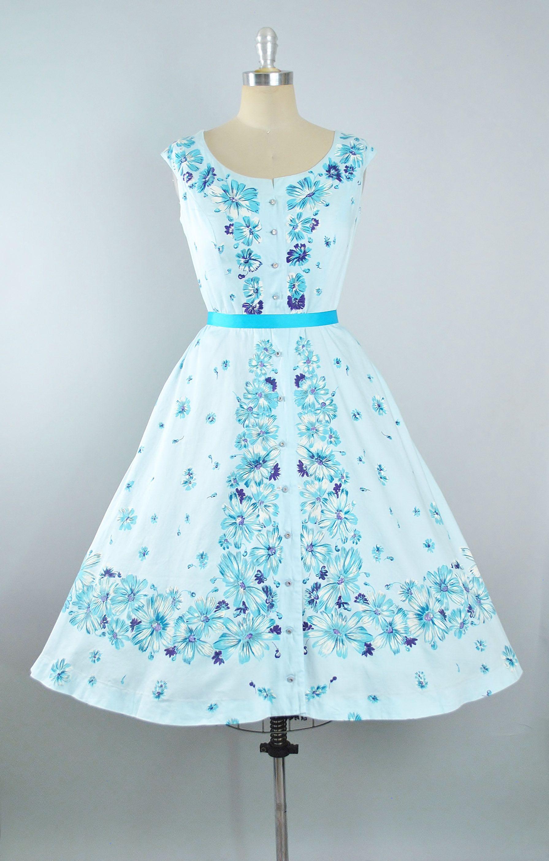 Vintage 50s Alix of Miami Dress / 1950s Cotton Sundress Blue BORDER ...