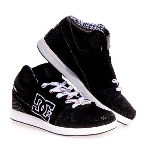 $69.99-$70.00 DC Women's University Mid Sneaker,Black/White,7 M US - Make  your boarding around campus more stylish with the University Mid skate shoes  from ...