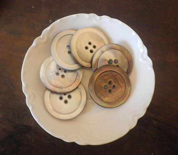 Vintage Smoked MOP Pearl Coat Buttons Irridescent Natural Carved Seashell (6)