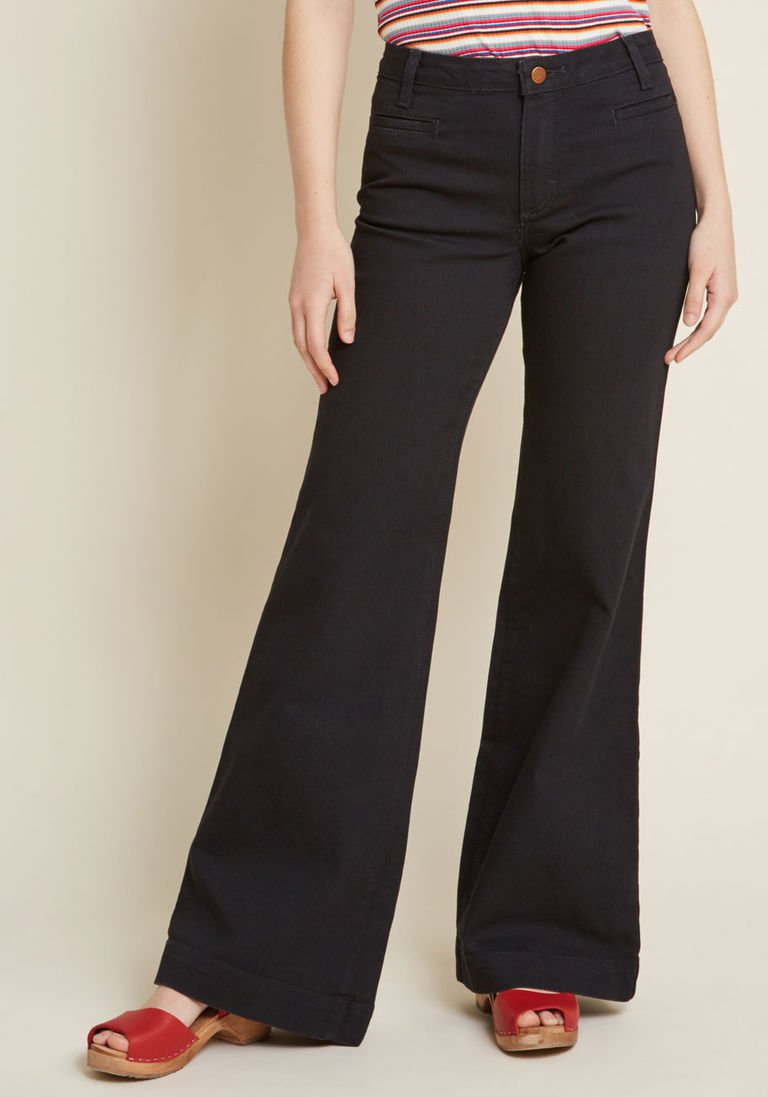 1446ca8eb1a9 Wrangler x MC Wide-Leg Whim Jeans in Black - 33 in. in 4 - Wide Denim Pant  by Wrangler from ModCloth