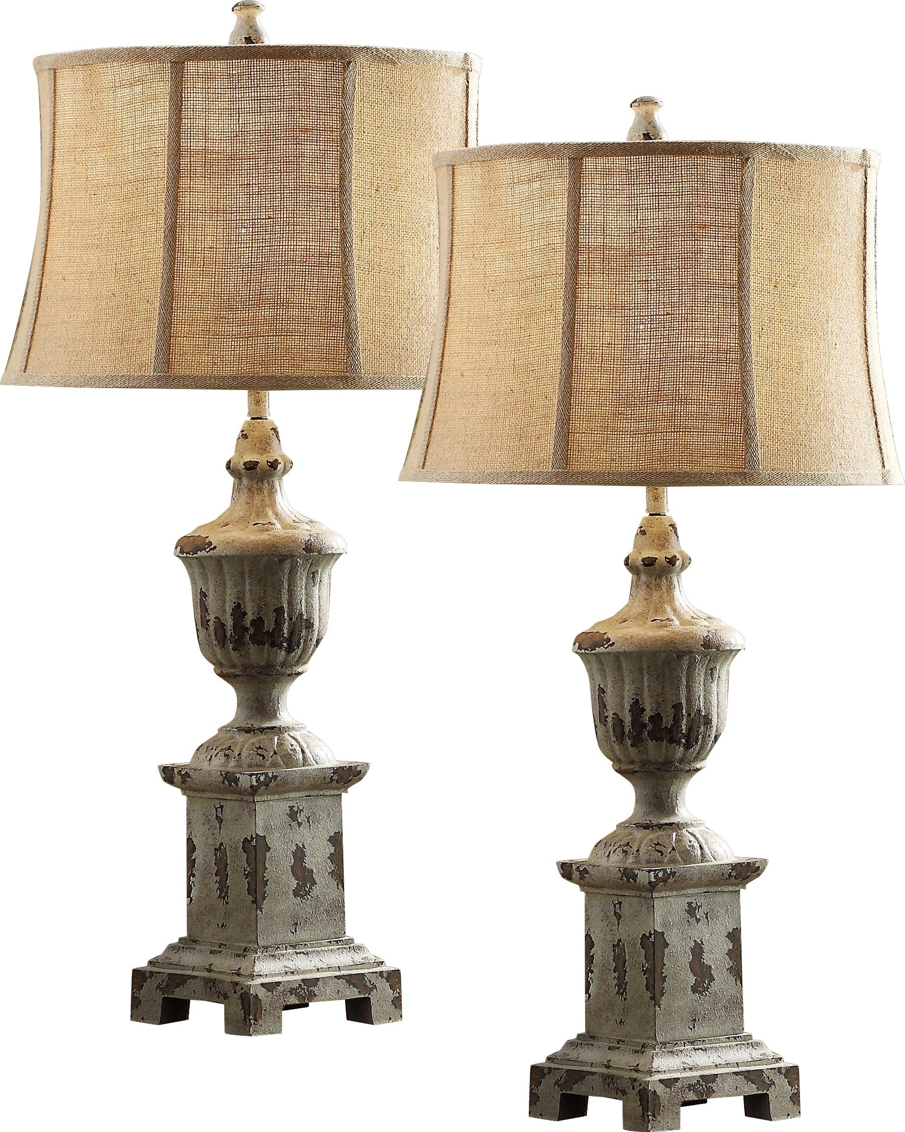 Offord Hall Blue Set Of 2 Lamps Country Table Lamp Country