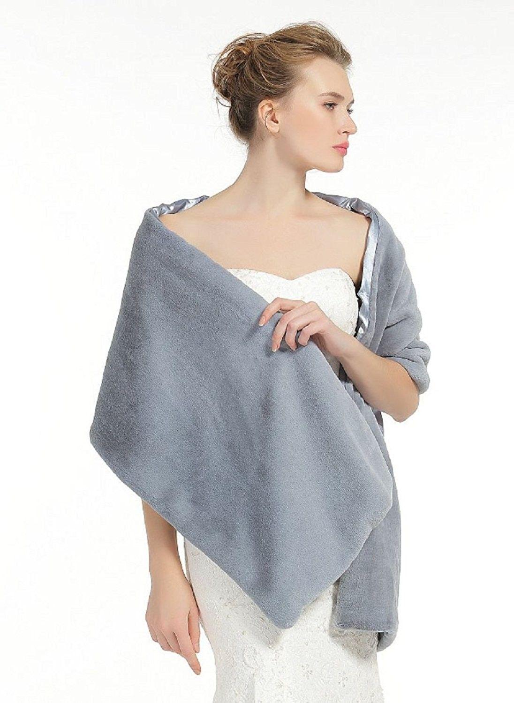 82fffe8e20 Shawl Wrap Faux Fur Shrug Stole Scarf Winter Bridal Wedding Cover Up - Gray  - CF18809SOGD - Scarves & Wraps, Wraps & Pashminas #SCARVES #WRAPS #fashion  ...