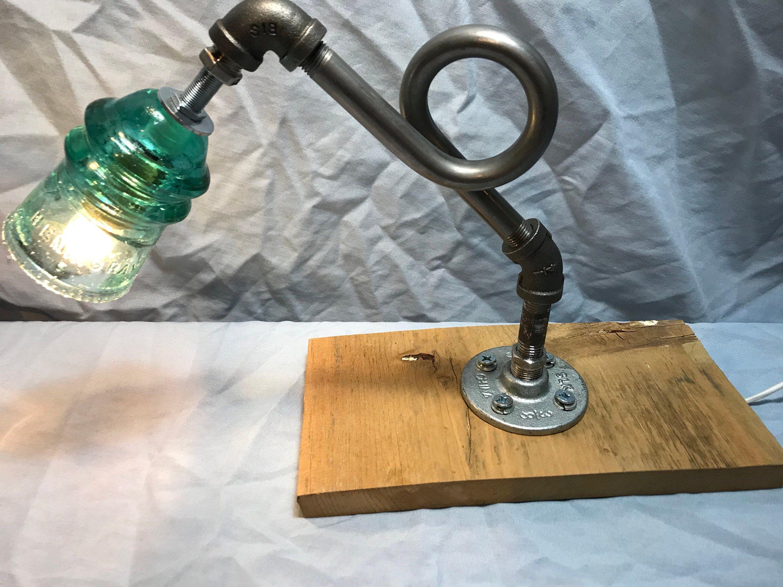 Beautiful vintage Hemingray insulator steampunk pipe desk lamp.