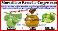 Todo Mujer Sabila Miel Y Limon Para Colitis Gastritis Ulceras Estreñimiento Y Mas Remedios Para La Gastritis Sabila Para Adelgazar Sabila Para Gastritis
