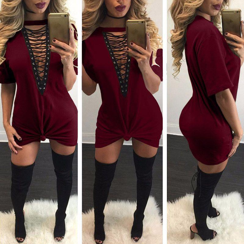 3c92101d9ef2fd Plus Size Summer Dress 2017 Women Deep V Neck Hollow Out Sexy Club Party  Dresses Casual Short Loose T-Shirt Dress Vestidos