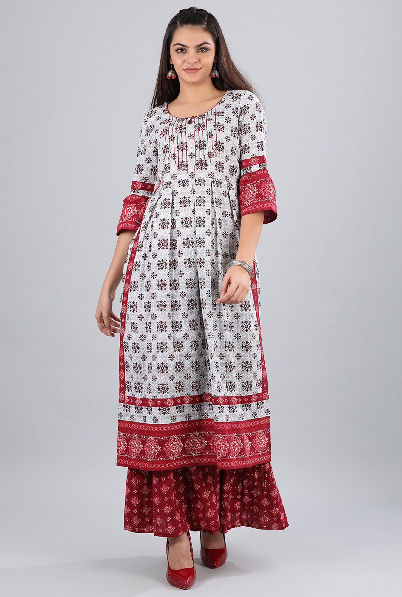 8cf2787c8e Aurelia Grey Round Neck Printed Cotton Kurta   kurta in 2019 ...