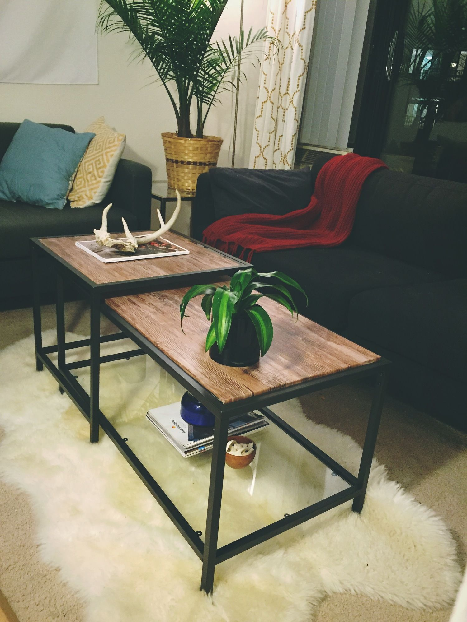 The IKEA VITTSJO nesting coffee table be es a posh marble accent