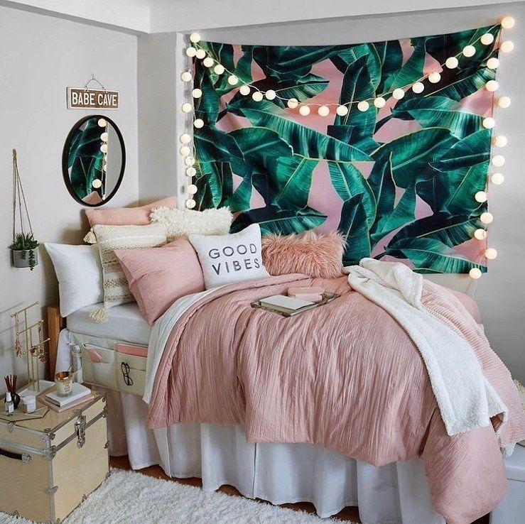 Palm Pink Wall Tapestry Girls Dorm Room Room Inspiration Bedroom Dorm Room Decor