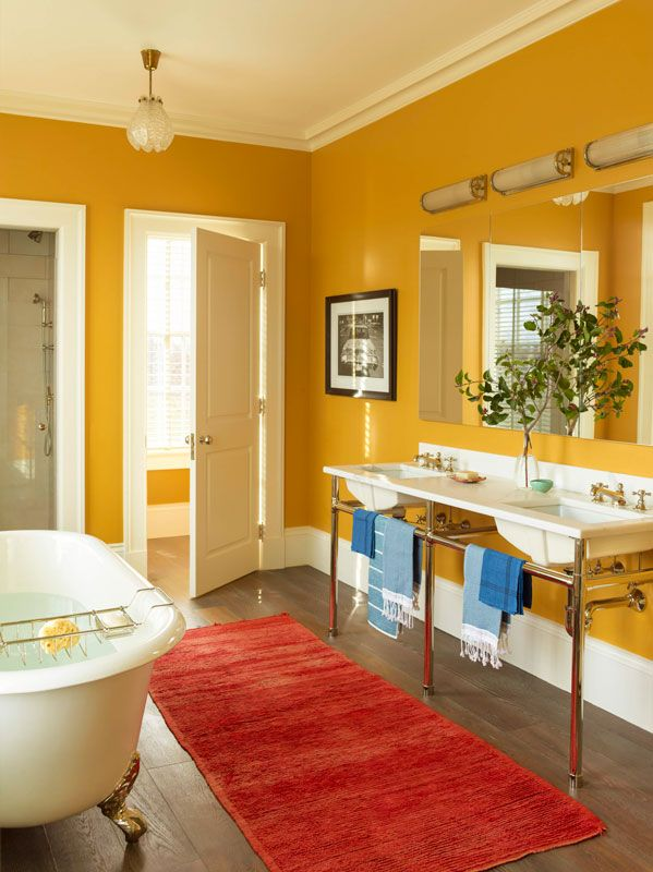 In The Principal Bathroom, The Mustard Yellow Walls Tie In The Wallpaper  From The Master