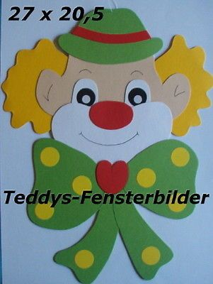 Teddys Fensterbilder 9 Clown Mit Grosser Schleife Tonkarton