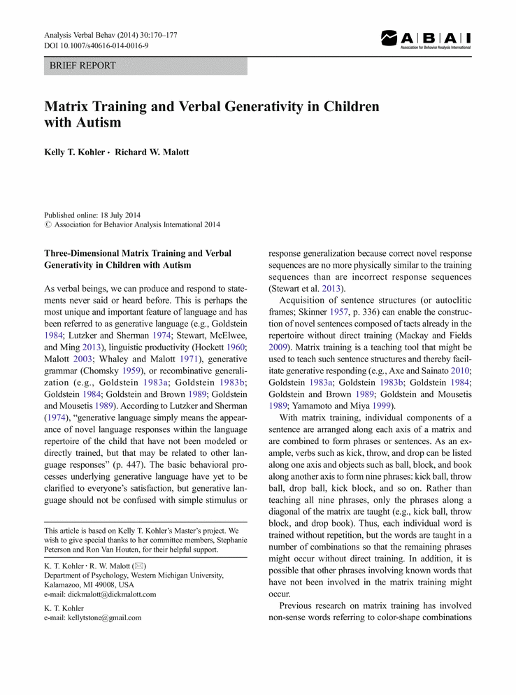 Matrix Training And Verbal Generativity In Children With Autism