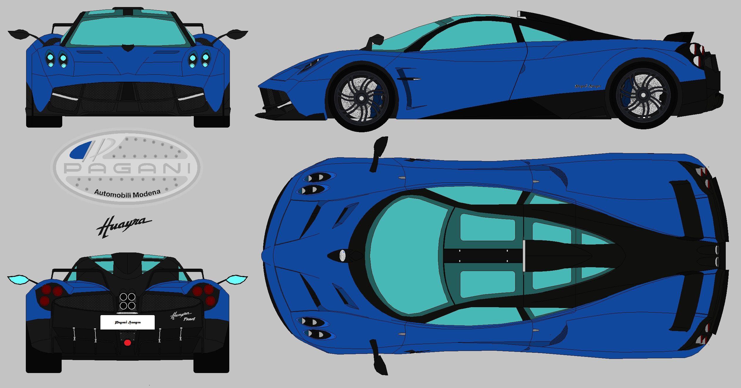 Pagani huayra pearl blueprint blueprints 4 views super cars pagani huayra pearl blueprint malvernweather Images