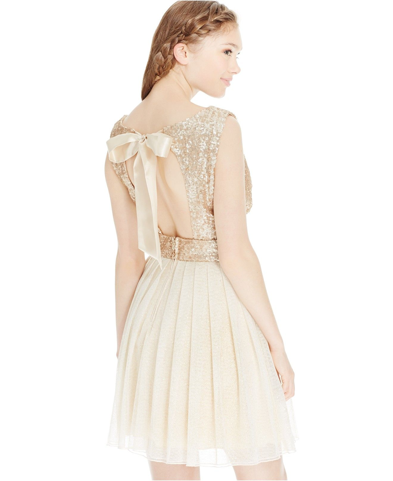 Speechless Juniors' Sequined Pleated-Skirt Fit-and-Flare Dress - Juniors Dresses - Macy's