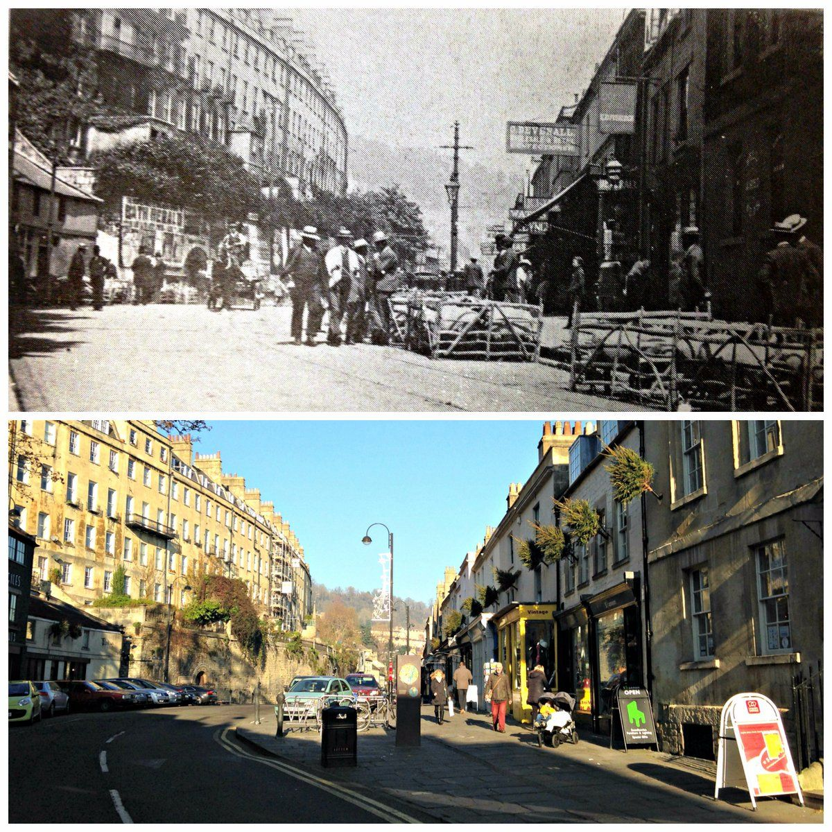 Walcot Street #Bath sheep market in 1906 and the same view in 2016