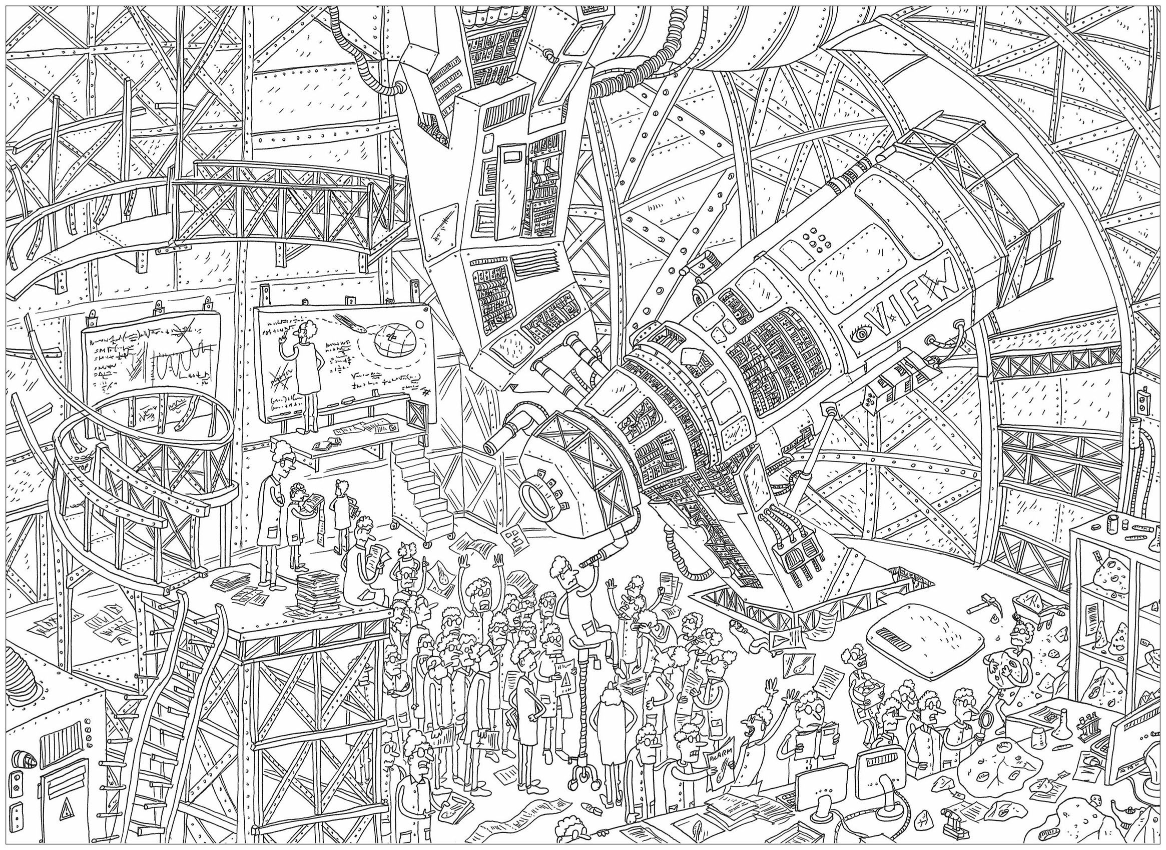 The giant telescope\', a complex coloring page, \'Where is Waldo ...