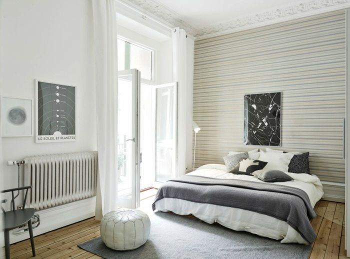 Wonderful Schlafzimmer Skandinavische Möbel Streifen Nice Design