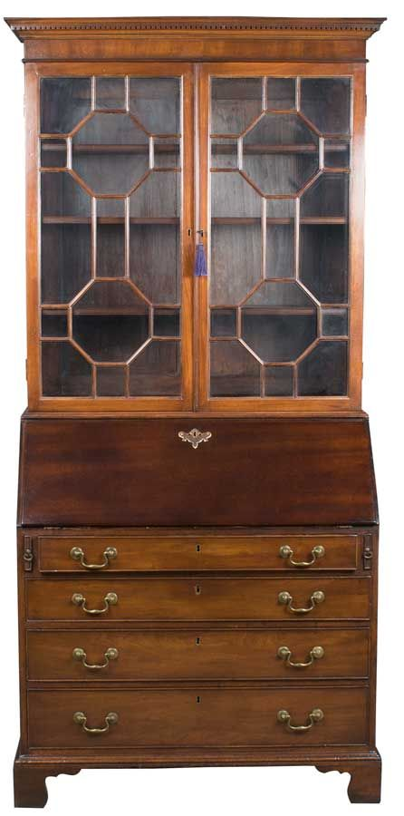 From the Georgian furniture period, this antique bureau bookcase was made  in England of mahogany wood and is a tall and impressive piece. - Georgian Antique Bureau Bookcase Awesome Antiques Pinterest