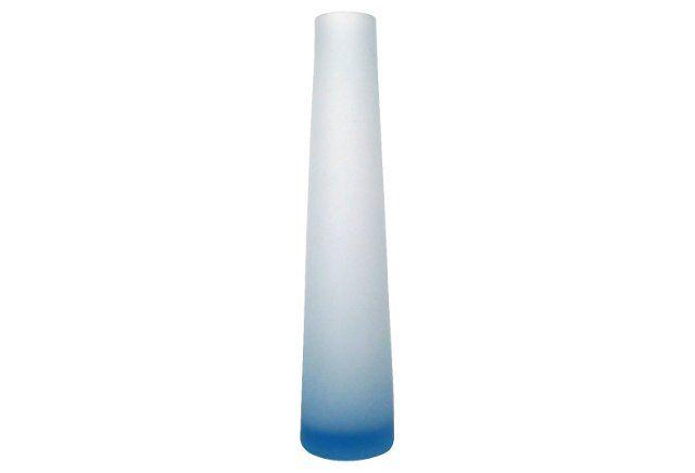 Blue Glass Cone Shaped Vase Retro Gallery Decor Pinterest