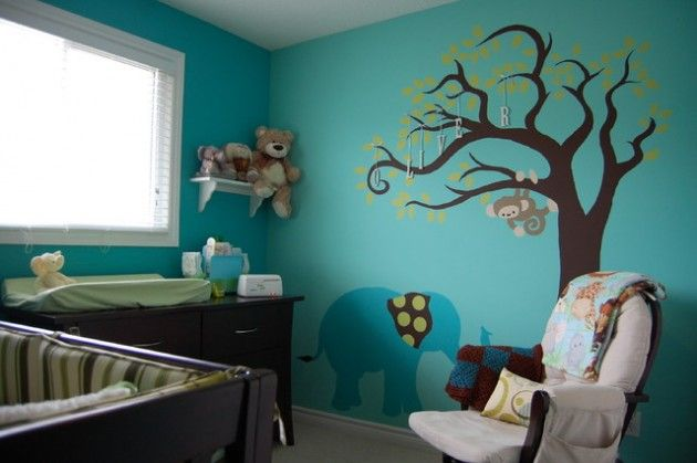 28 Contemporary Baby Nursery Design Ideas. I Like The Colors And The Monkey  On The Design