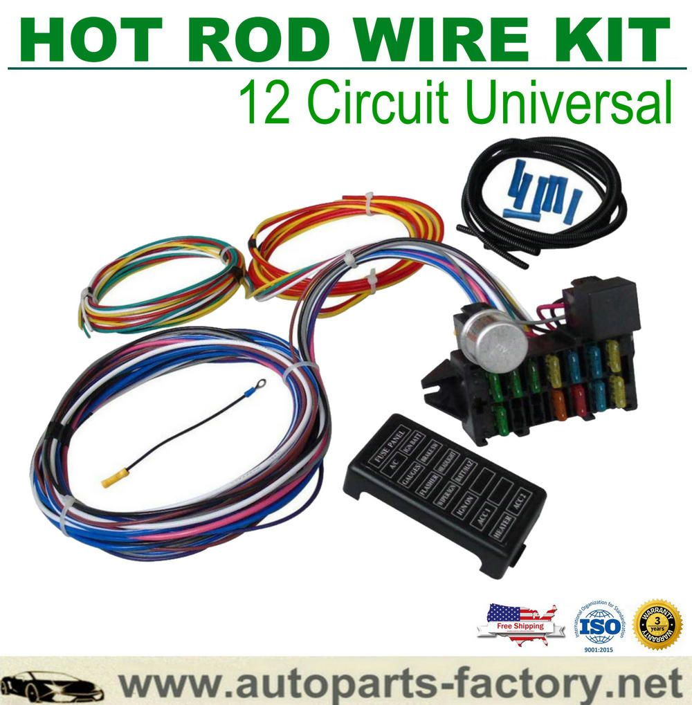 12 Circuit Hot Rod Universal Wiring Harness Muscle Car Street Rod Xl Wires Muscle Cars Street Rods Hot Rods Cars Muscle