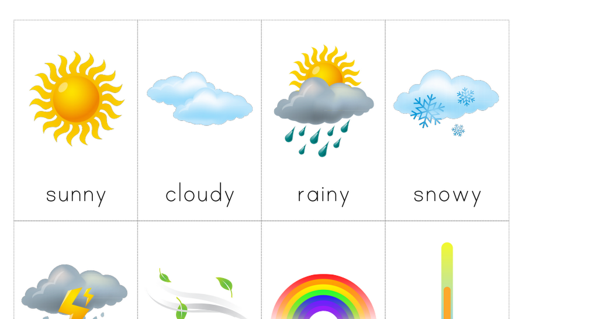 weather cards.pdf Preschool weather, Weather cards
